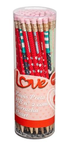 LÁPIS PRETO HB N° 2 LOVE COM BORRACHA