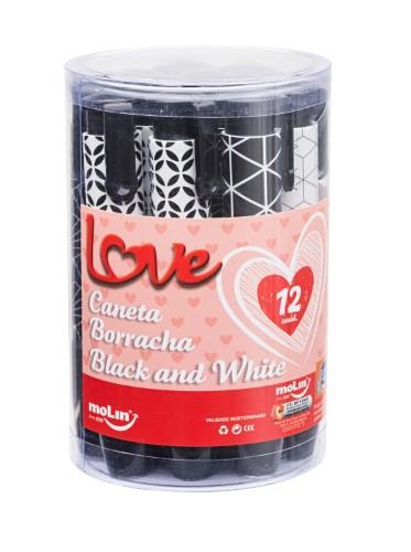 CANETA BORRACHA LOVE BLACK AND WHITE
